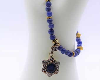 Blue sapphire jewel star pendant necklace, beaded elegant necklace, wedding gift, unique gift for her, bridal accessory