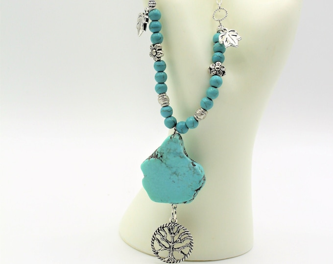 Beaded turquoise Y necklace, SPECIAL OFFER, tree of life blue necklace, everyday elegant accessory, boho women jewelry