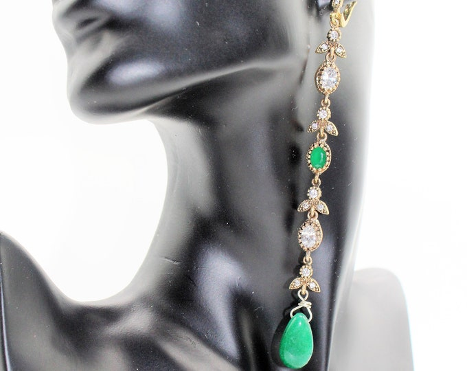 Emerald long drop earrings, glamour natural gemstone dangle earrings, unique bridal accessory, Hollywood glamour, elegant  gift for women