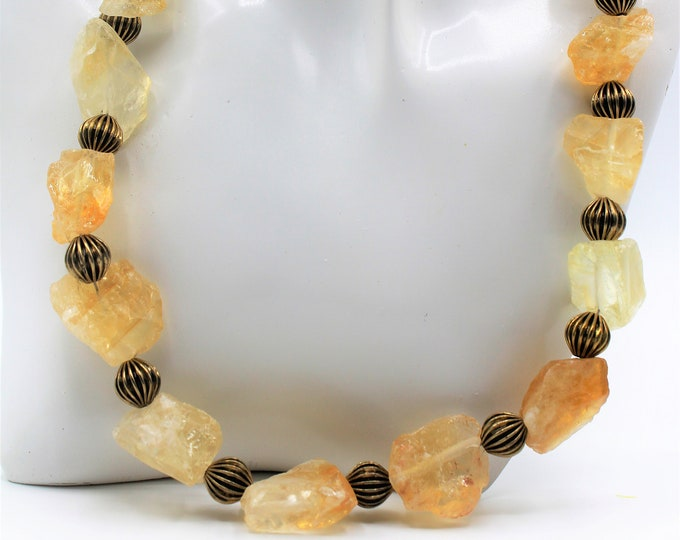 Yellow plus size choker, raw yellow quartz necklace, statement beaded necklace, fall colors accessory, gift idea for her