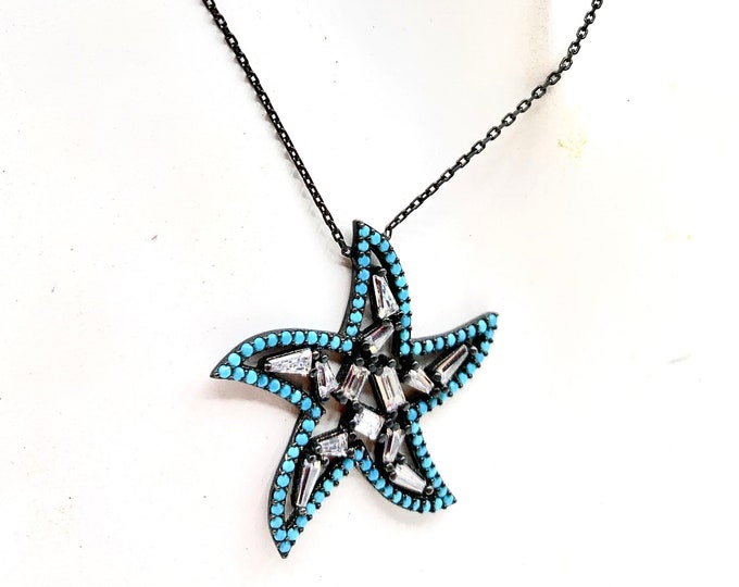 Sterling silver and Turquoise star pendant necklace, minimalist charm in a chain necklace, unique gift for her, sweet sixteen