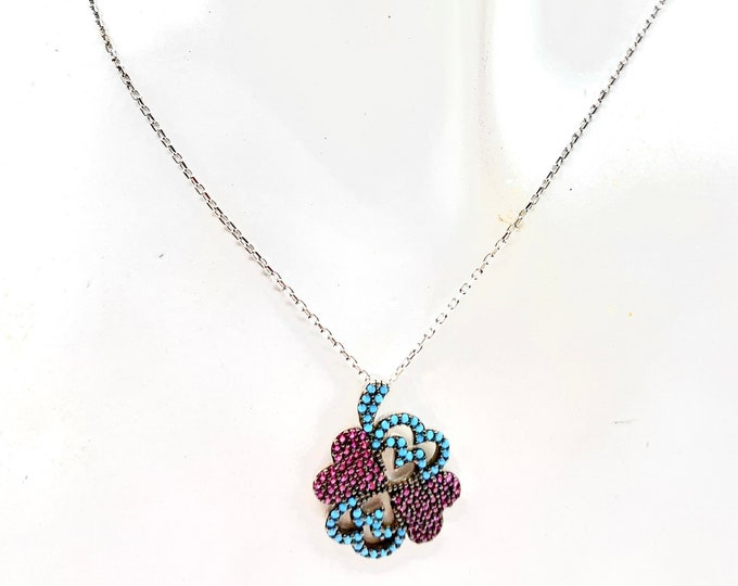 Ruby and turquoise heart pendant dainty necklace, delicate Sterling silver chain necklace, colorful pendant necklace, Valentine's Day gift