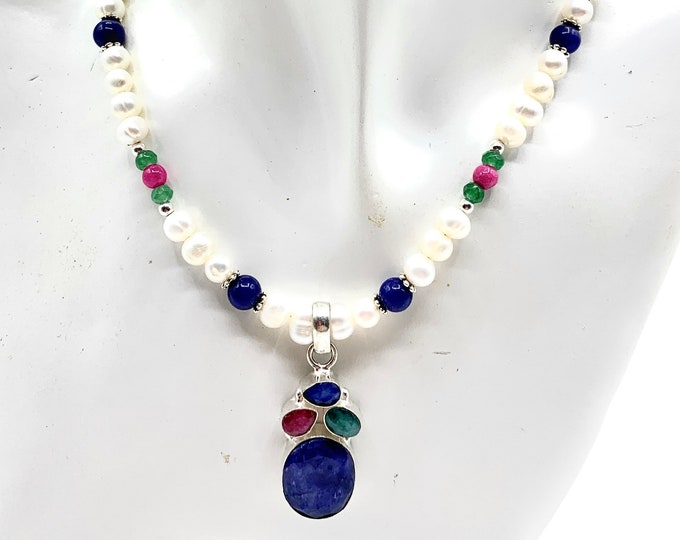 Natural gemstone pendant beaded necklace, blue sapphire, ruby, emerald and pearls colorful accessory, unique gift for women