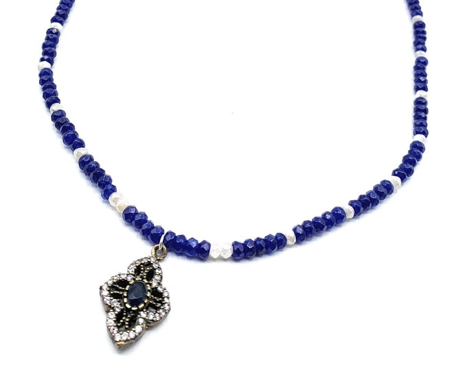 Dainty blue sapphire pendant beaded necklace, delicate sapphire strand with jewel pendant, elegant gemstone bridal accessory, gift for her