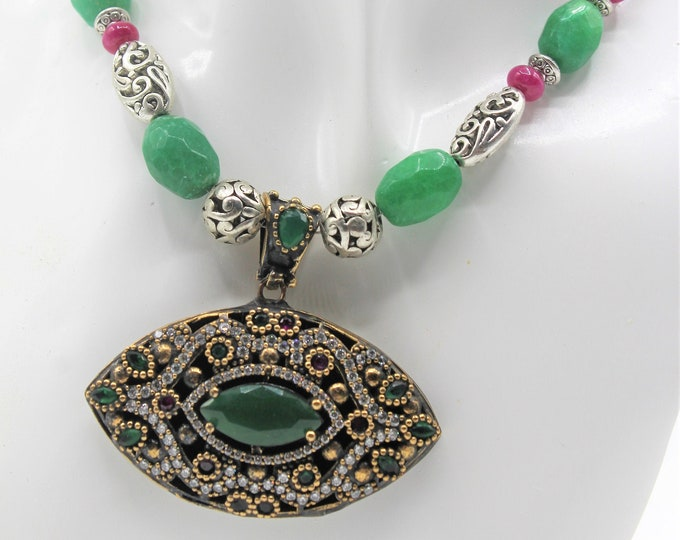 Natural emerald pendant necklace, emerald and ruby beaded necklace, statement necklace, special occasion elegant accessory, bridal accessory