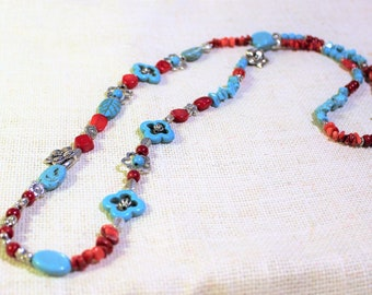 Turquoise and coral beaded necklace, floral motif colorful necklace, long  beaded strand, layering necklace