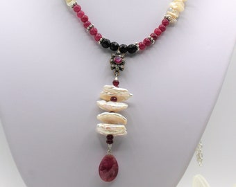 Delicate ruby and pearl Y beaded necklace, natural genuine gemstone unique accessory for women