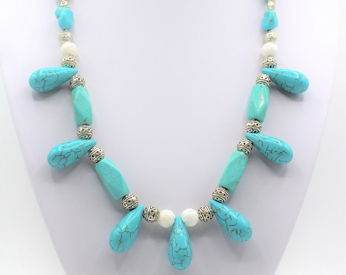 Turquoise and coral bib necklace,elegant beaded necklace, silver and turquoise necklace, unique gift idea for her, Mother's Day gift