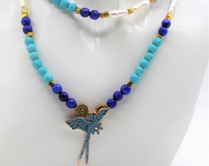 Turquoise bird pendant beaded necklace, colorful necklace, long strand necklace, layering necklace, statement necklace, gift for women