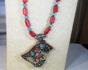 Coral necklace, Tibetan pendant necklace, red necklace, turquoise necklace, beaded necklace, pendant necklace