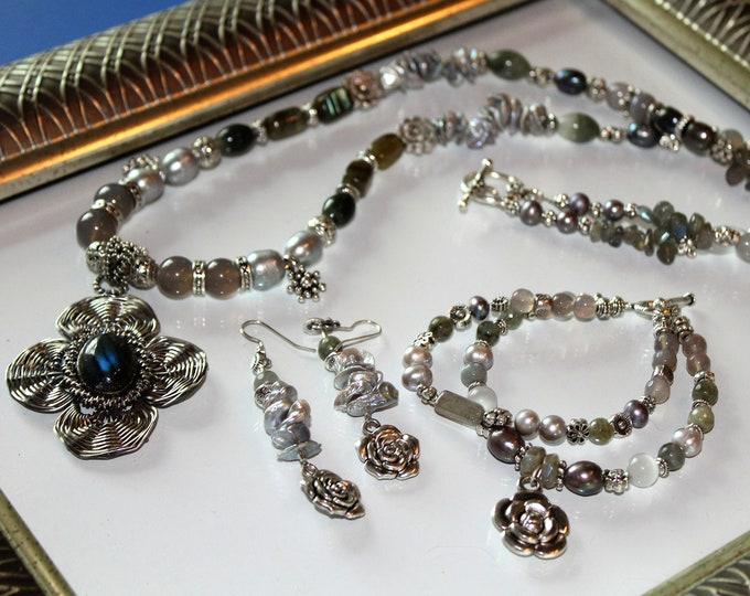 Labradorite necklace, bracelet and earrings set, three piece set, pearl necklace set, beaded necklace set, flower themed set, gray set