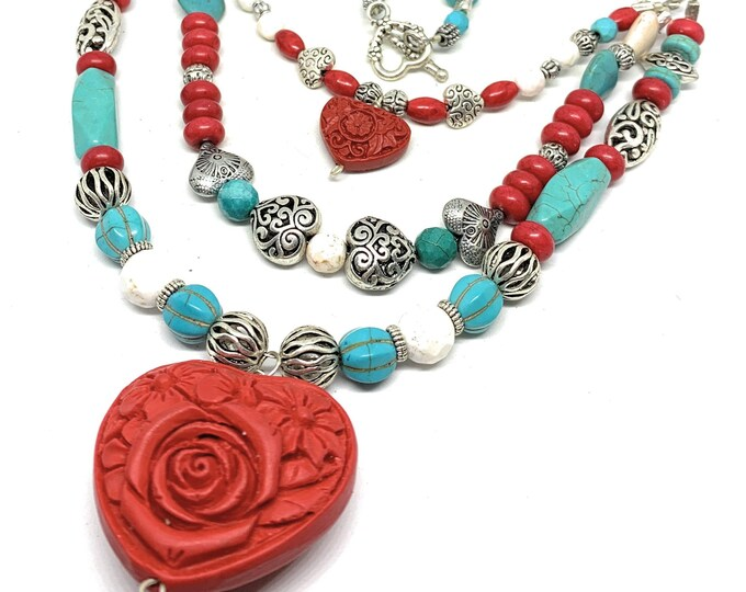 Beaded multi strand heart pendant necklace, turquoise and cinnabar statement necklace, Valentine's day gift for her