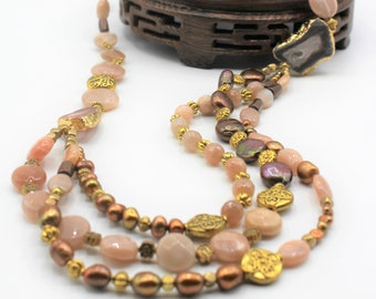 Multi strand pearl and gem necklace, sunstone beaded statement necklace, mother of the bride gift, elegant accessory for her
