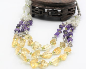 Amethyst and citrine beaded necklace, elegant multi strand necklace, gemstone colorful necklace, unique accessory, mother of the bride
