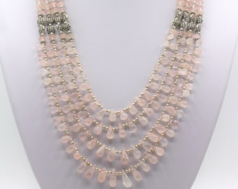 Rose quartz beaded necklace, pink multi strand necklace, elegant statement necklace, glamour accessory, unique gift for women