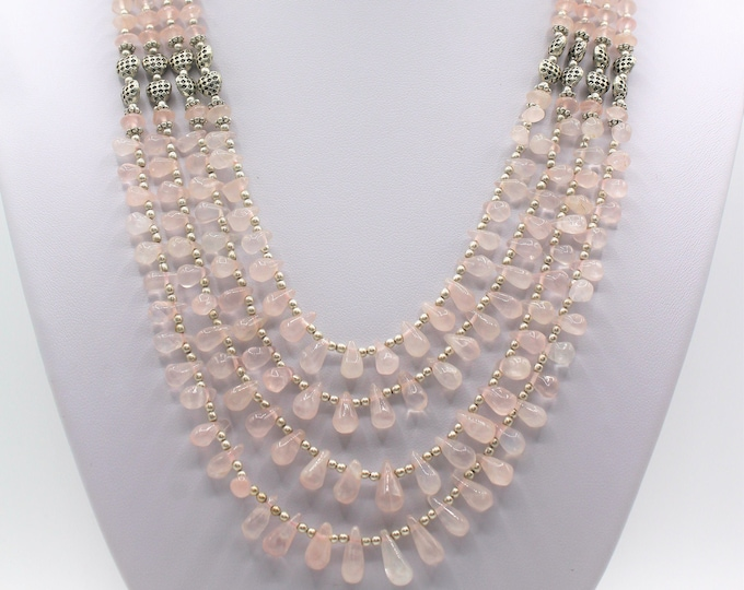 Rose quartz beaded multi strand necklace, elegant statement necklace, glamour accessory, unique gift for women