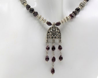 Beaded garnet tribal necklace, silver and garnet pendant necklace, delicate gemstone necklace, graduation gift, unique gift for her