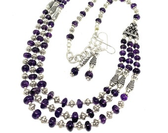 Amethyst multi strand beaded two piece set, elegant statement necklace and earrings set, unique bridal accessory, gift for her