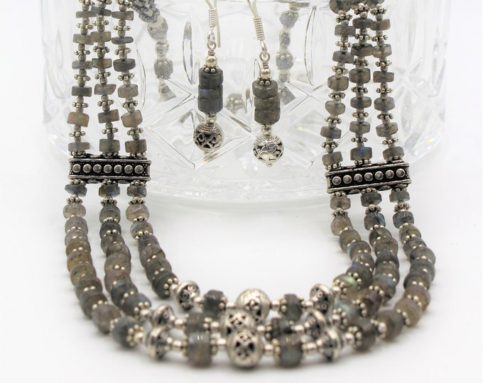 Labradorite beaded necklace set, multi strand gray necklace and earrings, statement gray and silver two piece set, gift for women