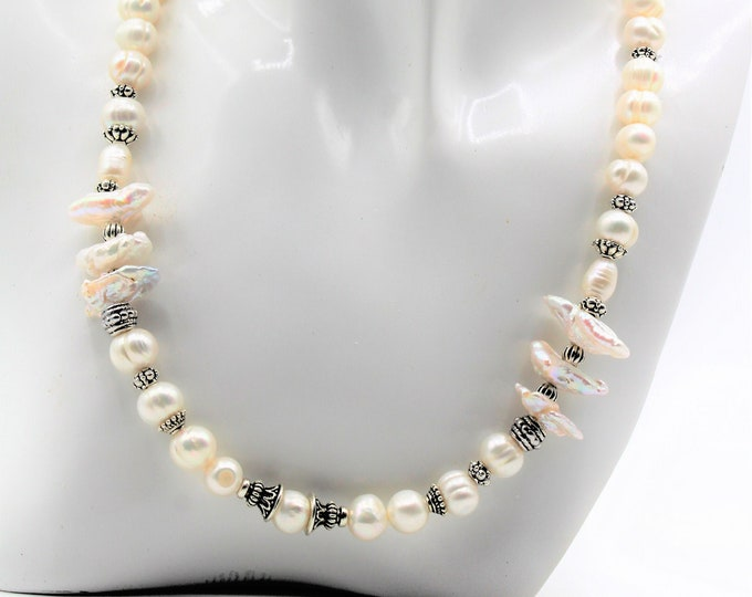 Beaded pearl necklace, elegant bridal accessory, mother of the bride necklace, modern statement necklace, unique gift idea for women