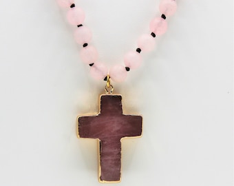 Pink gemstone cross beaded necklace, rose quartz hand knotted strand with cross pendant, long layering necklace, perfect gift for women