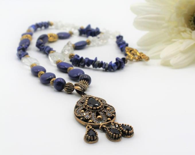 Blue sapphire jewel pendant necklace, elegant long beaded strand, bridal accessory, unique statement necklace, mother of the bride