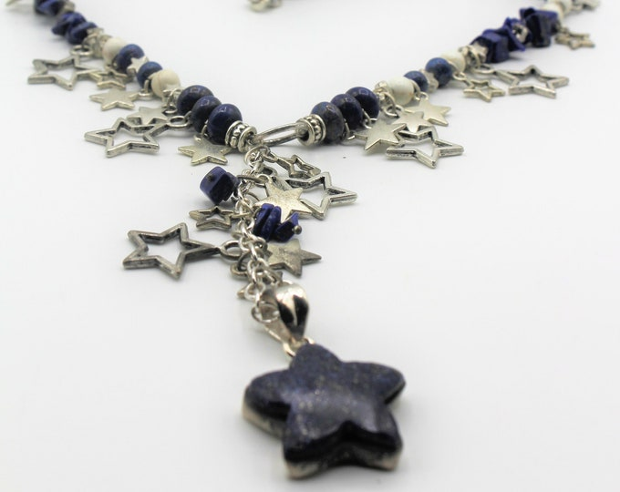 Star themed Lapis Lazuli beaded Y necklace, everyday elegant accessory, statement necklace, blue and silver Y necklace, unique accessory