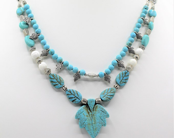 Turquoise double strand beaded necklace, gemstone leaf pendant necklace, every day elegant accessory, unique gift for her,statement necklace