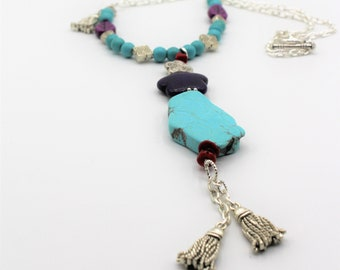 Beaded turquoise necklace, Y tassle necklace, blue and purple delicate necklace, bead whimsical accessory, special gift for women