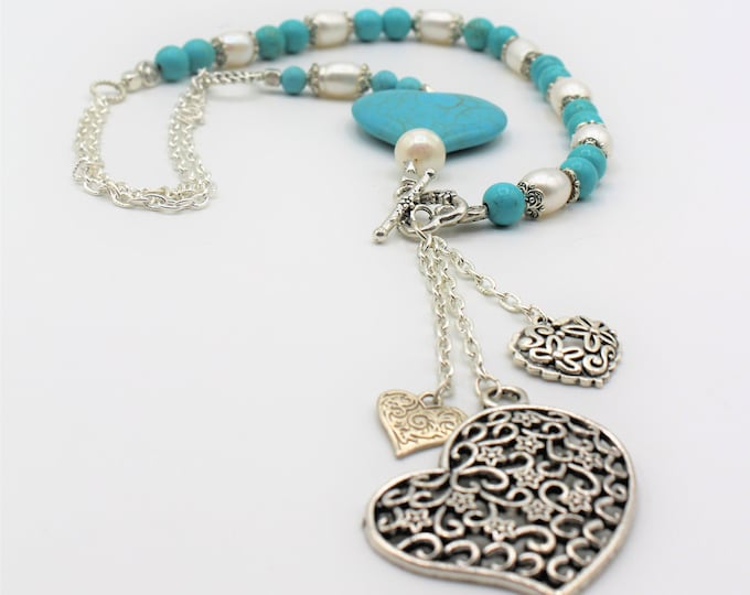 Turquoise and pearl heart beaded necklace, SPECIAL OFFER, turquoise Y long necklace, silver hearts in a blue and white necklace