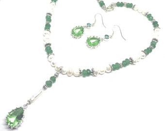 Pearl and gemstone two piece set, Y necklace and green topaz dangle earrings set, elegant statement accessory set, unique gift for her