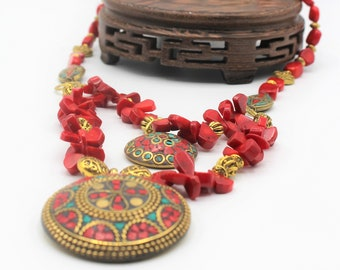 Red coral beaded necklace, double pendant necklace, multi strand necklace, tribal motif necklace, colorful gift for women, red necklace
