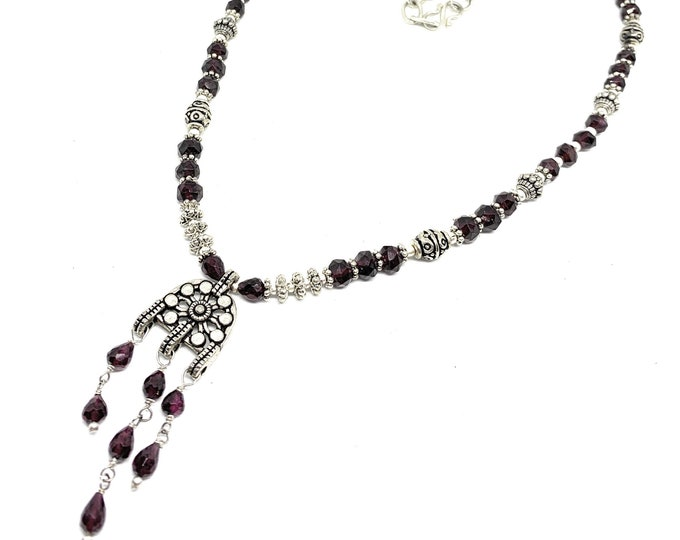 Beaded garnet tribal pendant necklace, silver and garnet delicate Boho chic women accessory, graduation gift, unique gift for her