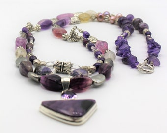 Amethyst and silver beaded necklace, multi strand long necklace,elegant statement necklace, multiple pendant necklace, gift idea for her