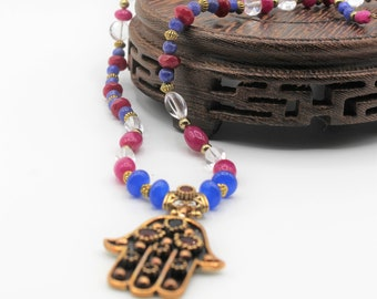 Ruby and sapphire Hamsa pendant necklace, natural gems beaded strand, unique statement evil eye protection, gift amulet for women