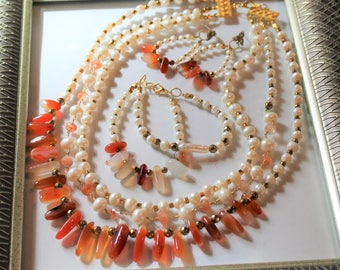 Red agate and pearl beaded three piece set, multi strand necklace, bracelet, earrings set, statement gemstone and pearl set