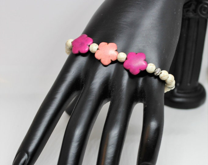 Plus size turquoise beaded bracelet, SPECIAL OFFER, purple and pink flower bracelet, unique gift for her, colorful bracelet, gift for mom