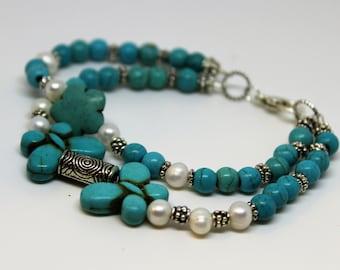 Turquoise beaded bracelet, SPECIAL OFFER, pearl bracelet, blue and white bracelet, unique gift for her, gift for mom, extra long bracelet