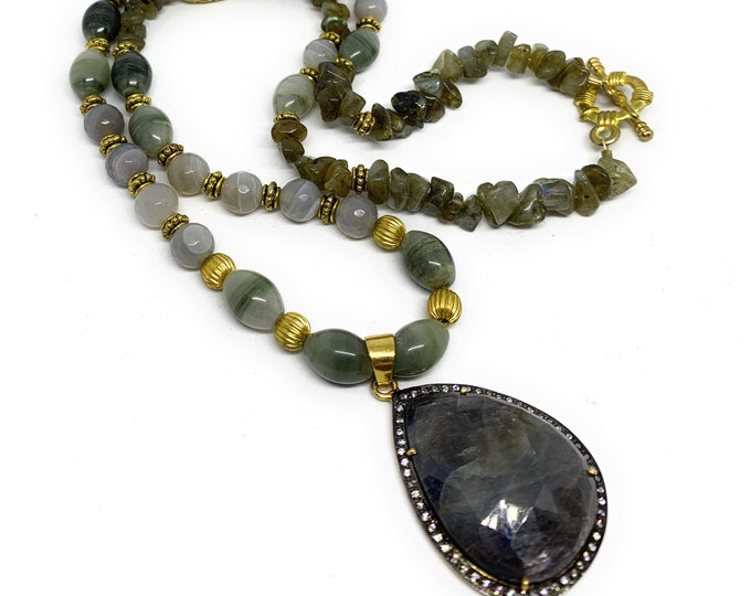 Sapphire pendant in a beaded long strand, elegant statement necklace, gold and gray accessory, unique gift for women