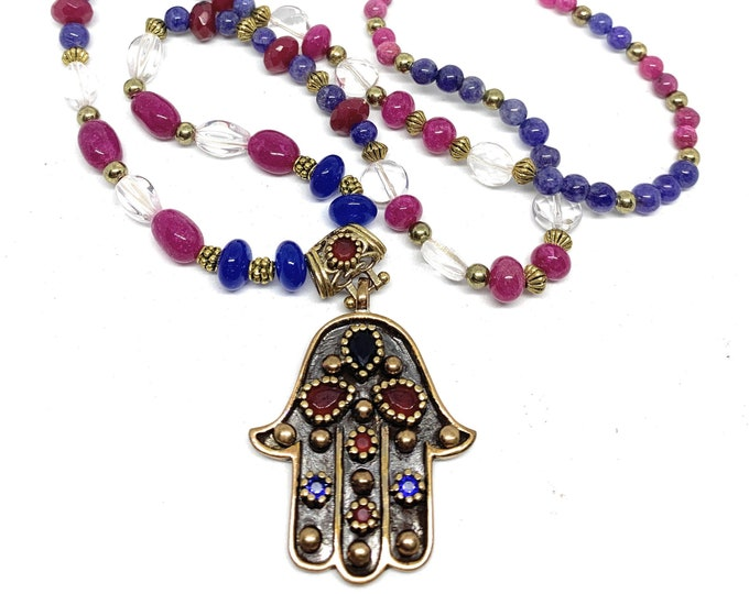 Ruby and sapphire Hamsa pendant beaded necklace, natural gems strand, evil eye protection, statement necklace, gift amulet for women