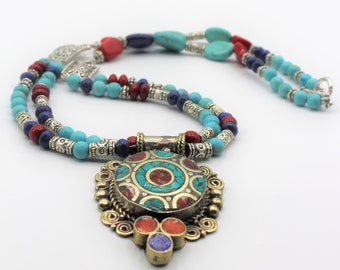 Tribal inspired unique necklace, beaded multi strand necklace, colorful pendant necklace, turquoise and coral necklace, elegant gift for her