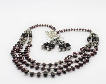 Garnet beaded necklace set, multi strand necklace and earrings, elegant statement gem set, delicate two piece set, unique gift for women