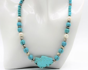 Turquoise and pearl beaded necklace, natural gemstones choker, plus size choker, unique gift for her, elegant everyday accessory