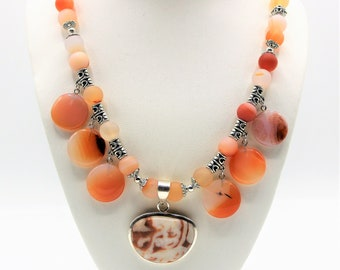 Red agate beaded necklace, multi pendant necklace, orange bib necklace, fall colors accessory,elegant statement necklace,unique gift for her