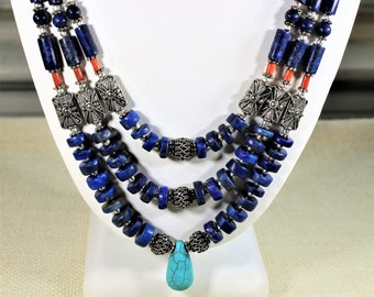 Lapis Lazuli necklace, beaded necklace, multi strand necklace, blue necklace, statement necklace