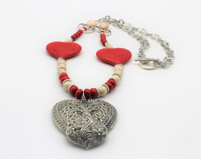 Red turquoise and silver heart beaded necklace, red and white long necklace, Valentine's Day gift, heart motif accessory, statement necklace