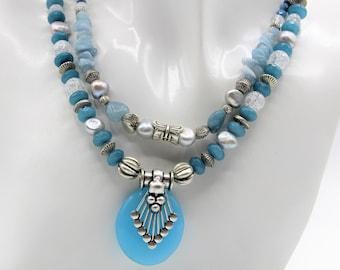 Aquamarine double strand beaded necklace, blue pendant long necklace, unique gift for women, colorful beaded necklace, statement necklace