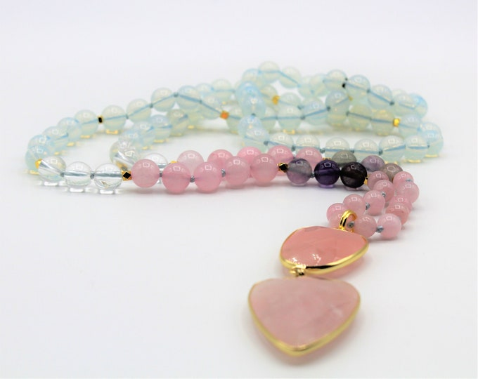 Pastel beaded long necklace with pendant, rose quartz and opal hand knotted necklace, elegant accessory for all seasons, gift for her