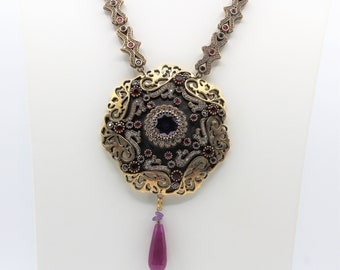 Ruby and amethyst jewel pendant necklace, gemstone beaded necklace,long statement necklace, unique wedding accessory for her