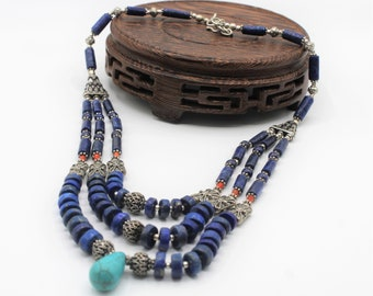 Lapis Lazuli beaded multi strand necklace, unique statement necklace, elegant gift for her, special event accessory
